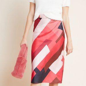 2 Anthropologie Rosario Abstract Midi Skirt Silky